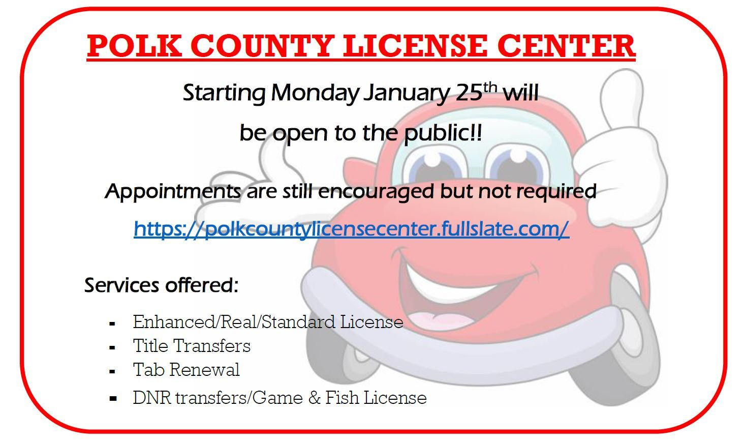 License Center Opening Ad Opens in new window